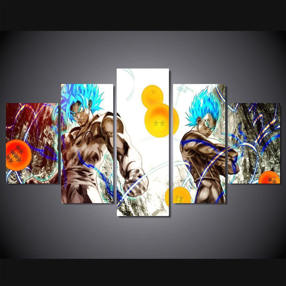 5 panels wall art dragon ball z goku saiyan paintings art for Decoration murale dragon ball z