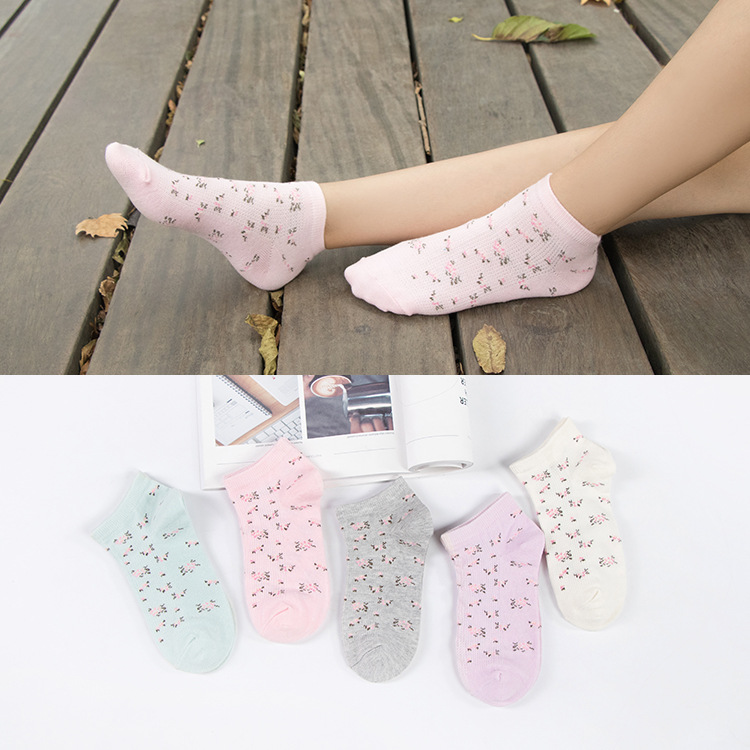 women cotton   socks   Floral Pattern Comfortable Soft Lovely Cute Casual girls Short   Socks   Warm Calcetines Sox