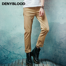 Denyblood Jeans 2017 Spring Summer Mens Slim Straight Classic Casual Pants Stretch Cotton Chino Pants Navy Khaki Trousers 151101
