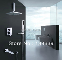 Free Shipping Luxury Brass Bath Shower Set Rainfall Tub In Wall Wall Mounted Shower Faucet Shower
