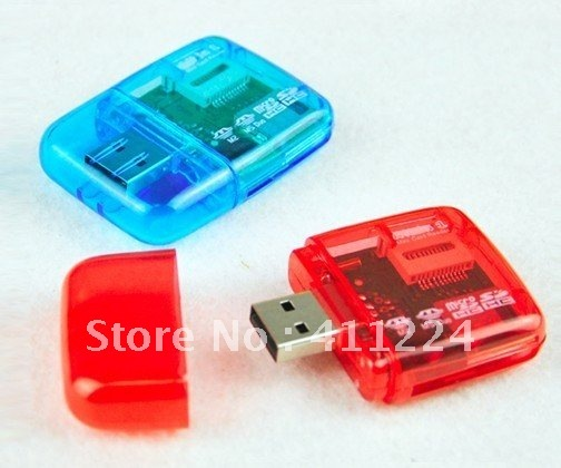 Free shipping 50pcs/lot USB 2.0 high speed Multi in one card reader w206