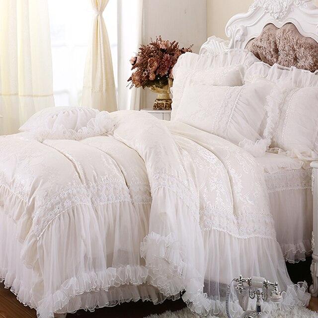 Luxus Weiß Spitze Falbala Rüschen Kuchen Bettwäsche Set Königin