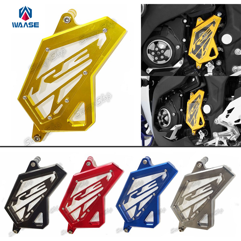 Motorcycle Aluminum Front Sprocket Chain Guard Cover Left Side Engine For Yamaha YZF R3 R25 2014 2015 2016 motorcycle cnc 6 hole beveled engine side guard derby cover