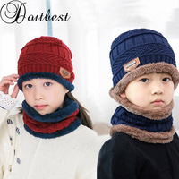 cdc5b7be5d9 Doitbest 3 to 9 Y knit scarf hat kids Beanies Knitted fur Child Winter Hat  Caps