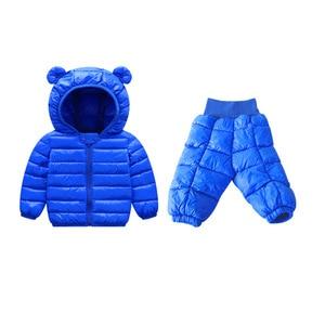 Image 3 - Комплекты зимней одежды для детей комплект из 2 предметов: куртка с капюшоном + штаны теплая куртка с хлопковой подкладкой для маленьких девочек Детские Зимние костюмы для мальчиков, От 1 до 5 лет