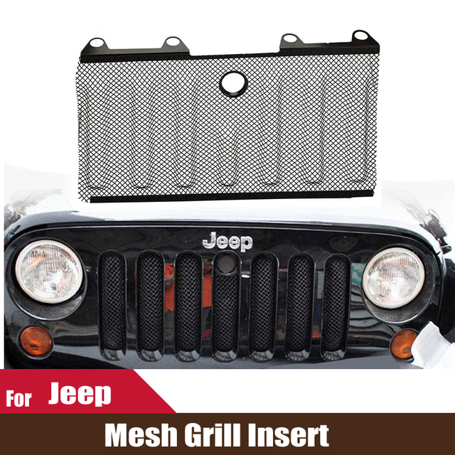 Car Accessories Auto 3D Mesh Grille For Jeep Wrangler JK 2007~2013 Front  Protective Grill