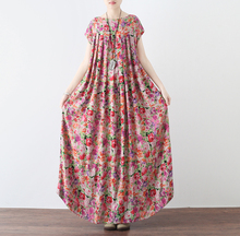 Cotton Linen Dress Women Midi Loose Casual Spring Short Sleeves National Style Floral Print Vintage Women