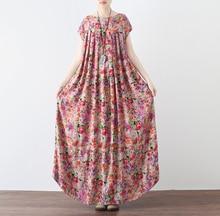 Cotton Linen Dress Women Midi Loose Casual Spring Short Sleeves National Style Floral Print Vintage Women Long Dress