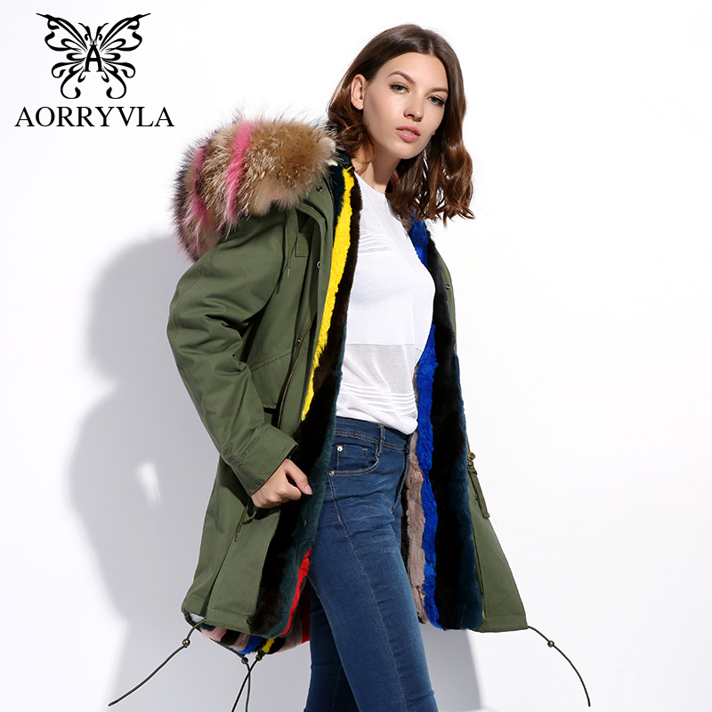 AORRYVLA Real Fur Parka Women Winter 2017 Army Green Natural Raccoon Collar Hooded Long Coat Real Rabbit Fur Lining Warm Jacket kohuijoos 3xl winter women army green large raccoon fur collar hooded coat warm detachable natural fox fur lining parka coats