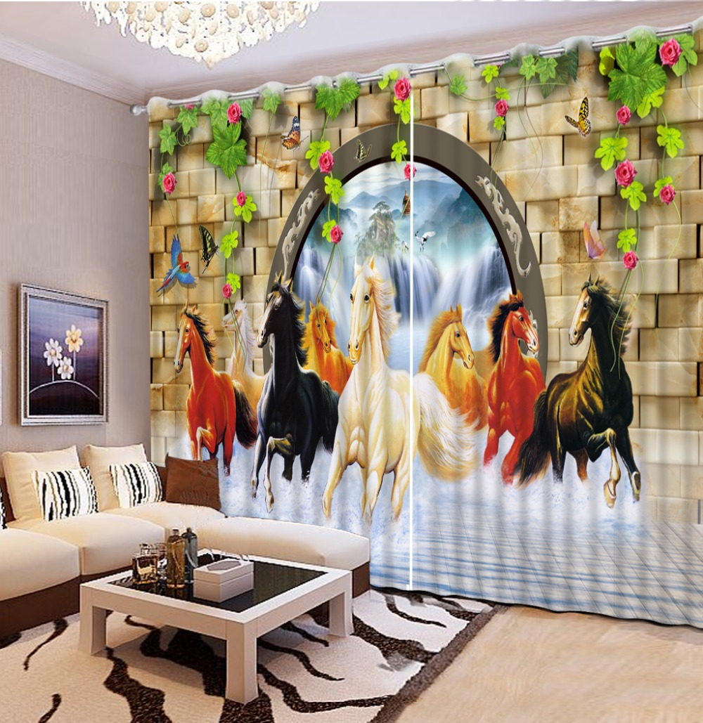 Patterned Curtains Living Room Online Get Cheap Horse Curtains Aliexpresscom Alibaba Group