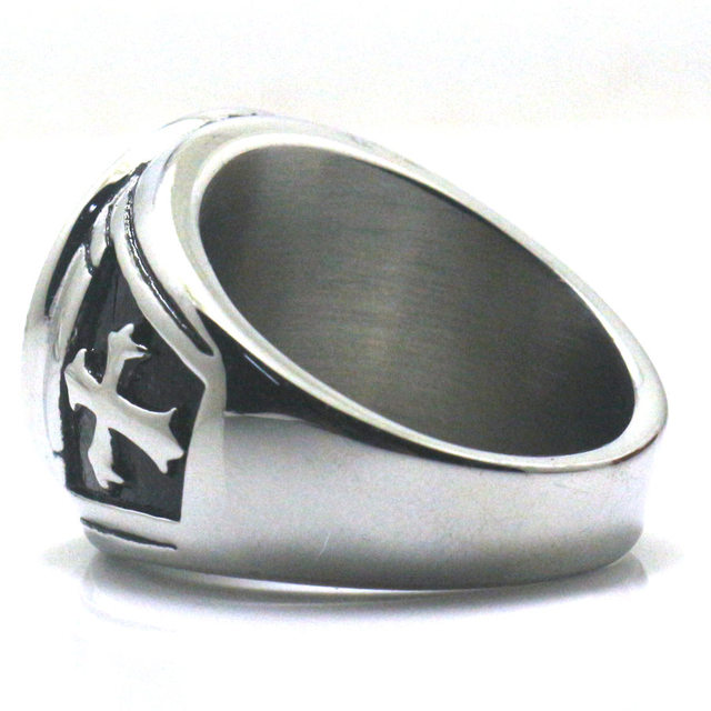 Men Boy Cross Saint Michael Protect US 316L Stainless Steel Cool Round Ring Newest Free Shipping Two Choices