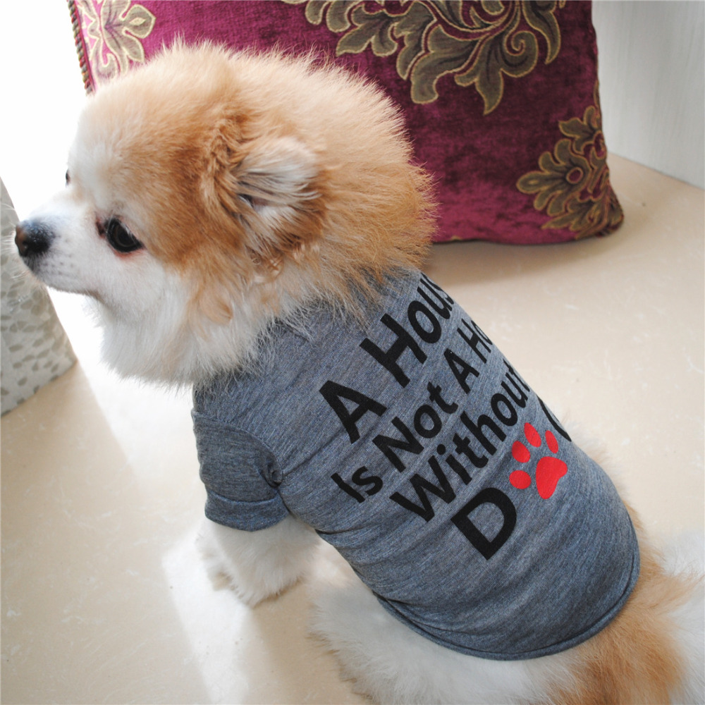 Letter Printed Dog Vest Shirt Summer Pet Dog Clothes For Small Dogs Teddy Poodle T-Shirt Cotton Dog Shirts Puppy Chaleco Perro