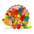 Cartoon Hedgehog Wood Stringing Beads Fruit Threading Plate Colorful Kids Early Development Educational Toy Set DIY Blocks