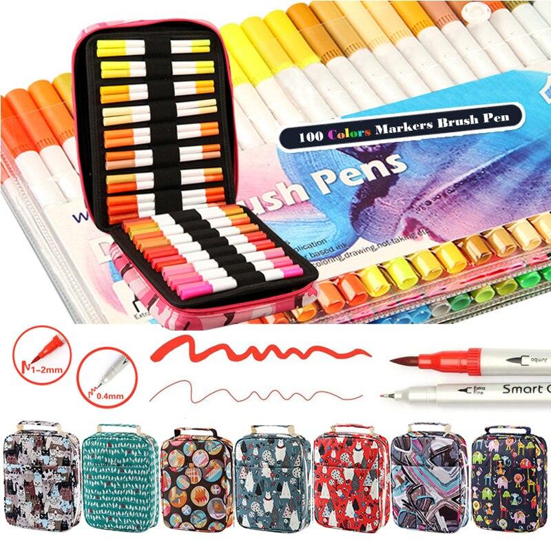 100 couleurs Fineliner double pinceau stylo eau couleur marqueurs pinceau Finecolour pinceau marqueurs pour dessin peinture Set Art fournitures