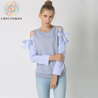 Chictorso Lovely Bow Tie Long Sleeve T Shirt Women T shirts Round Neck Fashion Summer Top Plus Size Pullovers Korean Style Shirt