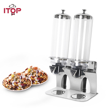 ITOP Stainless Steel Base 1-3 Tank Cereal Dispenser Dry Food Dispenser Food Storage Box Kitchen Grain Rice Container