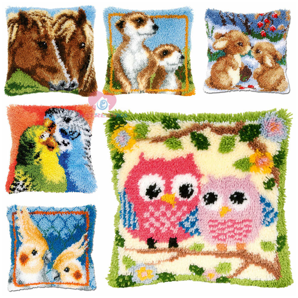 Dropshipping Diy latch hook kit pillow animal cross stitch pillow needlework kit diy latch hook rug kit embroidered accessories