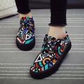 Размер 35 до 39 обувь Весна и лето скольжения на шаблон обувь повседневная холст обувь zapatos де mujer низкие плоские печатные парусиновые туфли