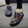 Tamaño 35-39 zapatos de Primavera y verano resbalón-en los zapatos del modelo zapatos de lona casuales zapatos de mujer zapatos planos bajos de lona impresa