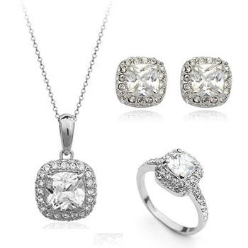 Fashion Jewelry 18k Gold Platinum Plated Le Zircon Crystal Simulated Diamonds Necklaces Rings Earrings Wedding Sets In From