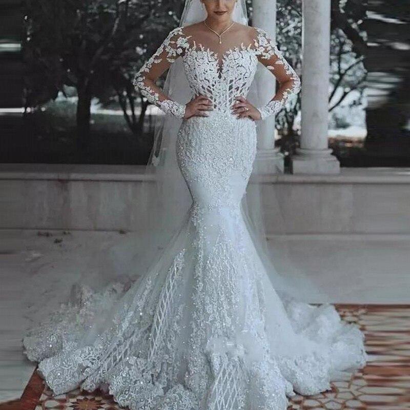Arabic Mermaid Wedding Dresses Long Sleeves Applique Beaded Middle East Bridal Wedding Gowns Bride Dress Robe