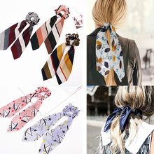 2019 New Chiffon Bowknot Silk Hair Rope Band Women Ponytail Holder Ties Scrunchie Floral Scarf Elastic Accessories