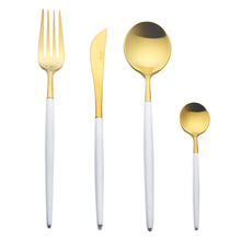 4 Unids/lote Blanco Cubertería Mango de Oro 18/10 Juego De vajilla de Acero Inoxidable Tenedor Cuchillo Cucharadas Sliverware Set Home Vajilla Conjunto