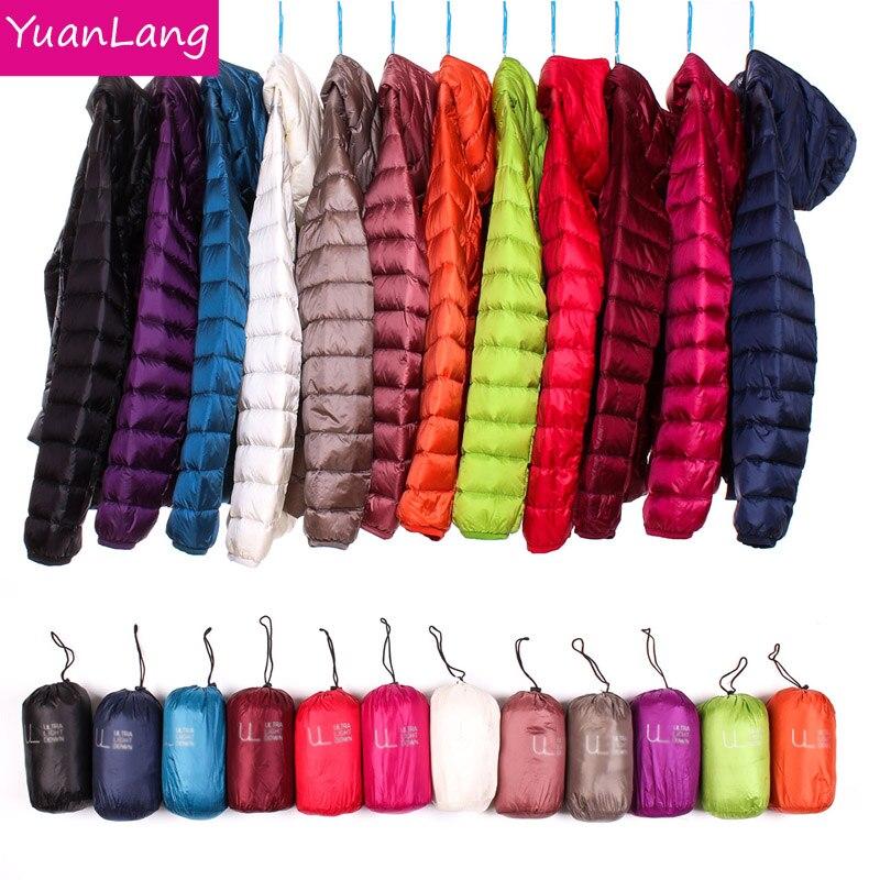 Invierno mujeres Ultra ligero abajo chaqueta 90% pato abajo chaquetas con capucha de manga larga caliente abrigo Delgado femenino Parka Portabl outwear