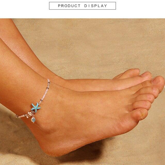 c5039c84f 2018 Popular Resin Women Summer Fashion Conch starfish Beads Ankle Bracelet  Barefoot Beach Girl Anklets Sandal