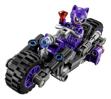 LEPIN Batman Series Catwoman Catcycle Chase Building Blocks Bricks Movie Model Kids Toys Marvel Compatible Legoe