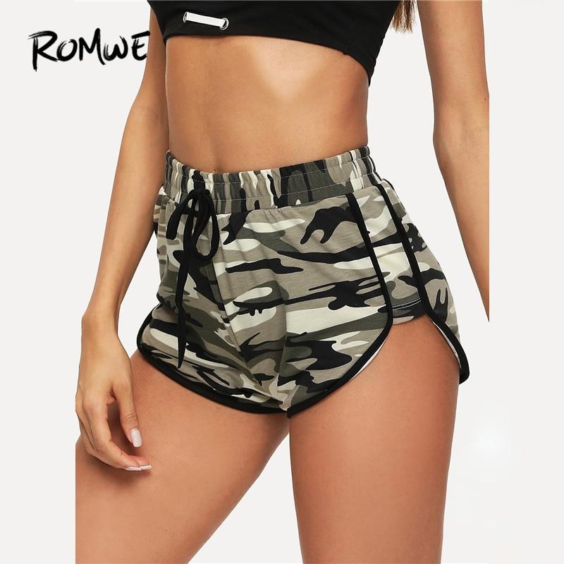 ROMWE Contrast Binding Camo Print   Short   Women Workout Drawstring Elastic Waist   Shorts   2019 Camouflage Mid Waist Summer   Shorts
