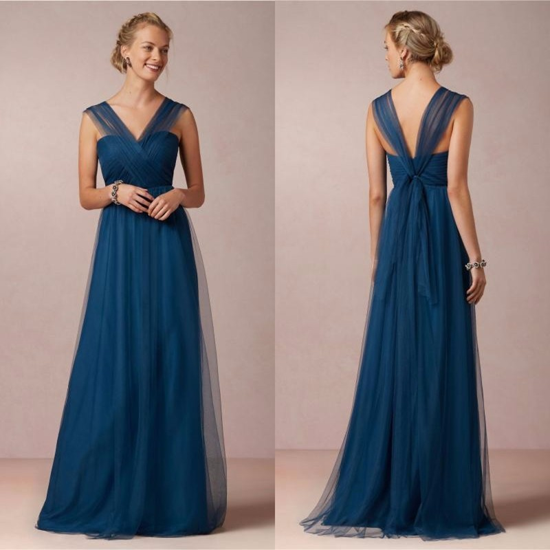 2016 Long Custom Made Bridesmaid Dresses For Cheap Wedding Party Dresses Royal Blue Bridesmaid Dress A-line Long Sleeveless Gown 5