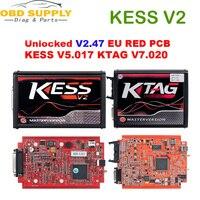 2019 Red KESS V2 V5.017 V2.47 KTAG V7.020 V2.23 No Token Limit 4 LED ECU Programmer Tool KESS 5.017 KTAG KTag v7.020 Car Truck