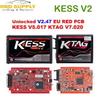 2019 Red KESS V2 V5.017 V2.47 KTAG V7.020 V2.23 No Token Limit 4 LED ECU Programmer Tool KESS 5.017 KTAG KTag v7.020 Car Truck