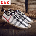 100% hand made fashion check pattern Canvas shoes(white/yellow/black),Breathable linen cotton-made shoes durable outsole