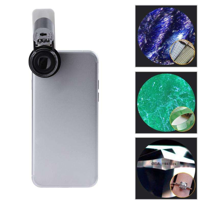 65X  Clip-On Phone Microscope Magnifier With LED / UV Lights For Universal SmartPhones IPhone Samsung HTC Magnifier