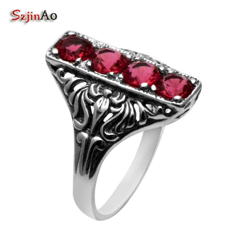 Szjinao Unieke Bohemen Stijl Vintage Rode Cubia Zirocnia Sieraden van Vrouwen 925 Sterling Zilveren Ringen Maat 10 9 8 7 6 5 Gratis doos