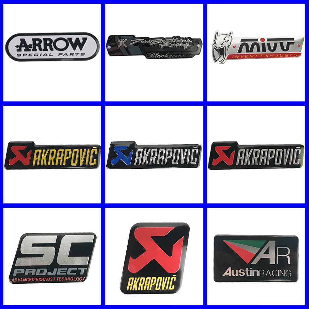 3D Aluminum Heat-resistant Sticker Motorcycle Exhaust Pipe Decal For Akrapovic Arrow Scorpio Yoshimura MIVV Leovince Two Brother