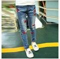 Детская одежда весной и осенью детские брюки девушки случайные узкие джинсы