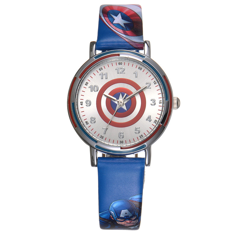 Children's Watches Disney brand children boys cartoon watches students leather child boy quartz waterproof Captain America