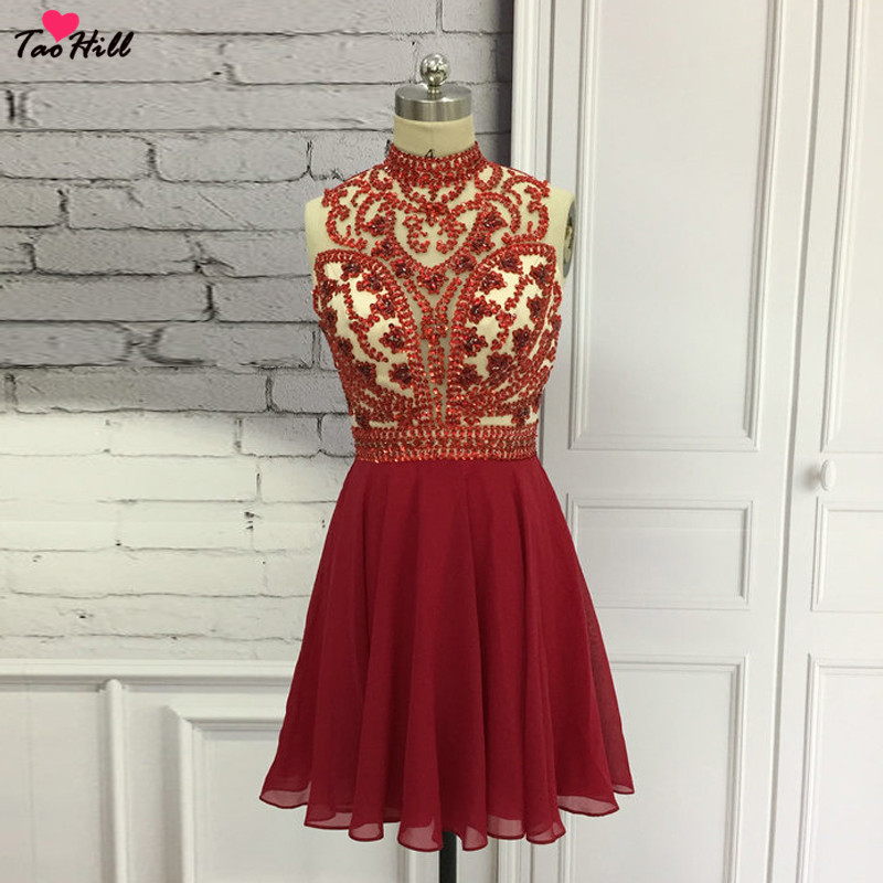 TaoHill Sparkle Crystal Beaded Short   Cocktail     Dresses   A-line High Neck Red Chiffon