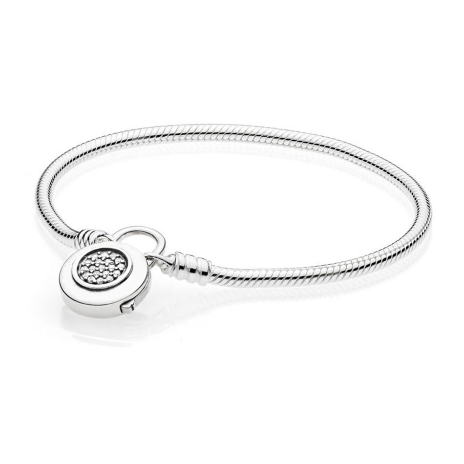 925 Sterling Silver Bracelet for Women MOMENTS Smooth Bracelet with Signature Padlock fit Pandora Beads Charm Pendant Jewelry 925 sterling silver bracelet logo signature padlock moments smooth snake bracelet bangle fit bead charm diy pandora jewelry