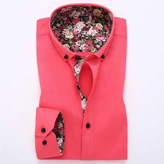 Весной и Осенью Новая Мода Марка презрению Fit рубашку с длинными рукавами мужской стенд воротник 9 цвета camisa masculina плюс размер 4 XL