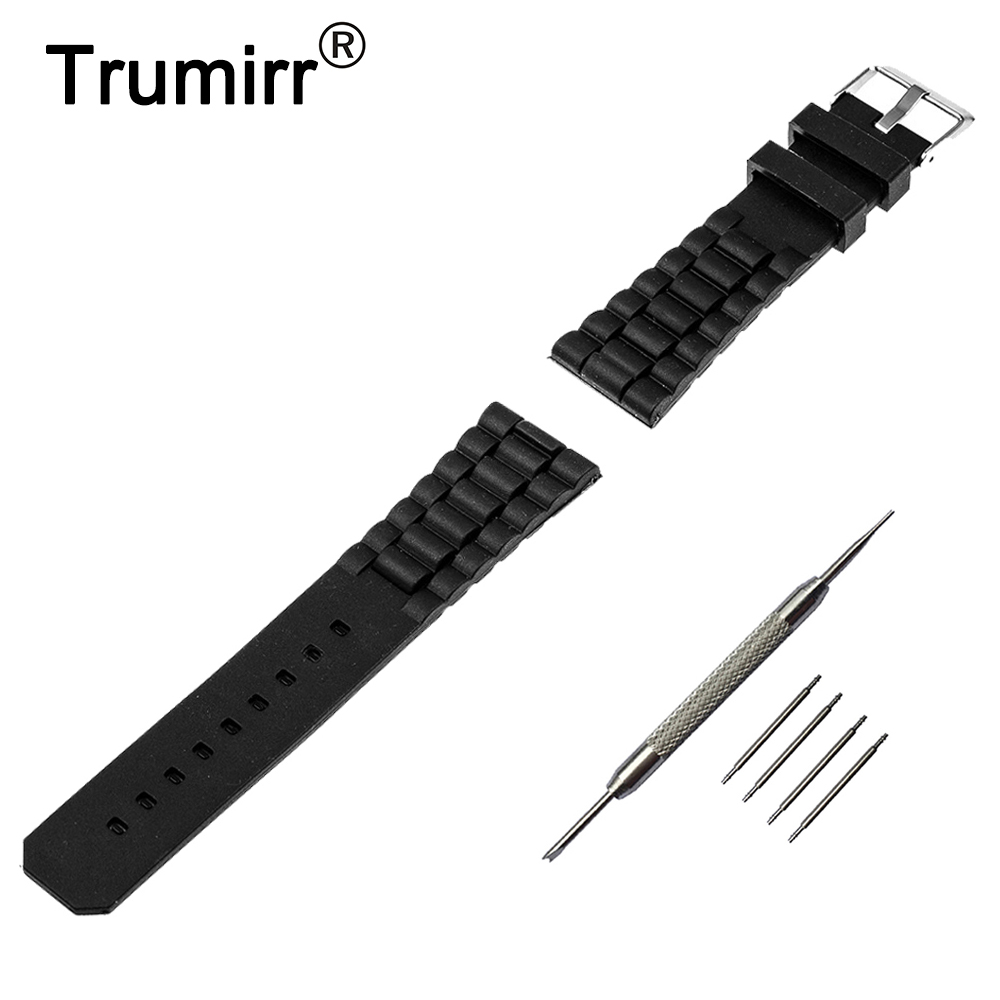 22mm Silicone Rubber Watch Band for Samsung Gear S3 Classic / Frontier Stainless Steel Buckle Strap Wrist Belt Bracelet Black pure ceramic watch band 22mm for samsung gear s3 classic frontier butterfly buckle strap wrist belt bracelet black white polish