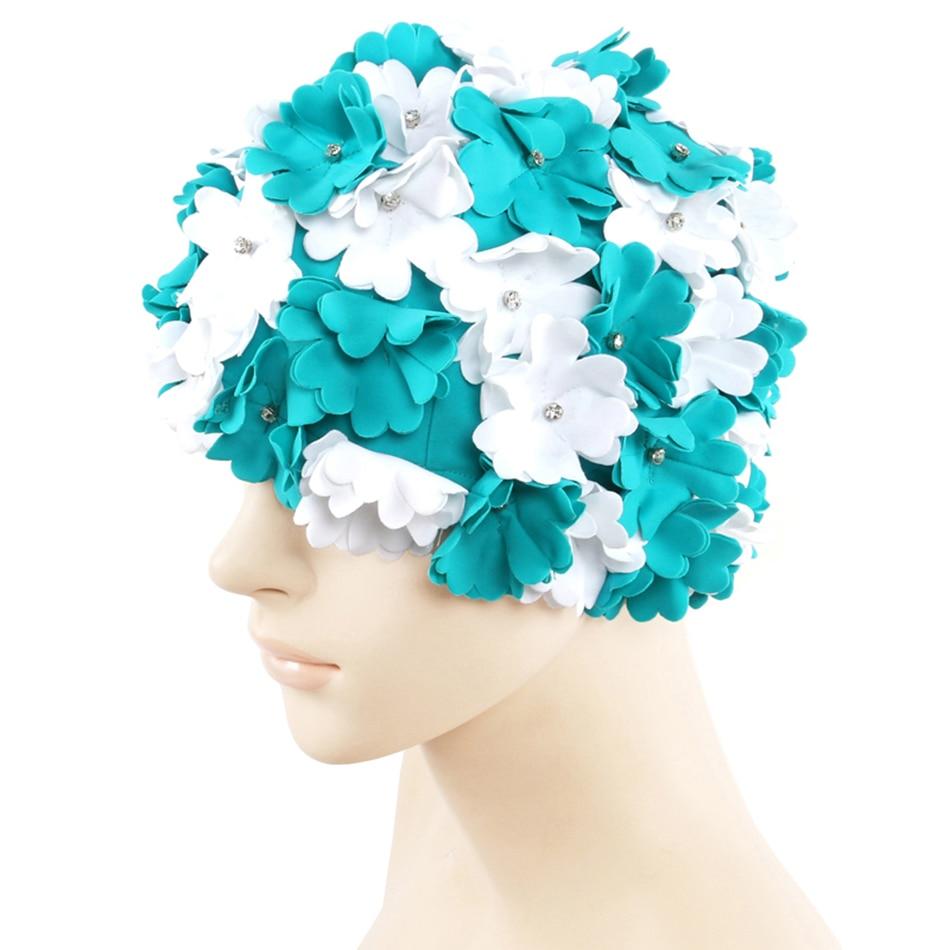 Bonnet de Bain Natation Piscine Adultes Unisexe Chapeau Nylon Imprimé Fleur