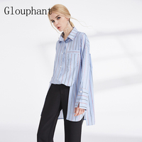 Glouphant New Fashion Split Striped Women Shirt Full Long SLeeve Womens Tops And Blouses Loose Office