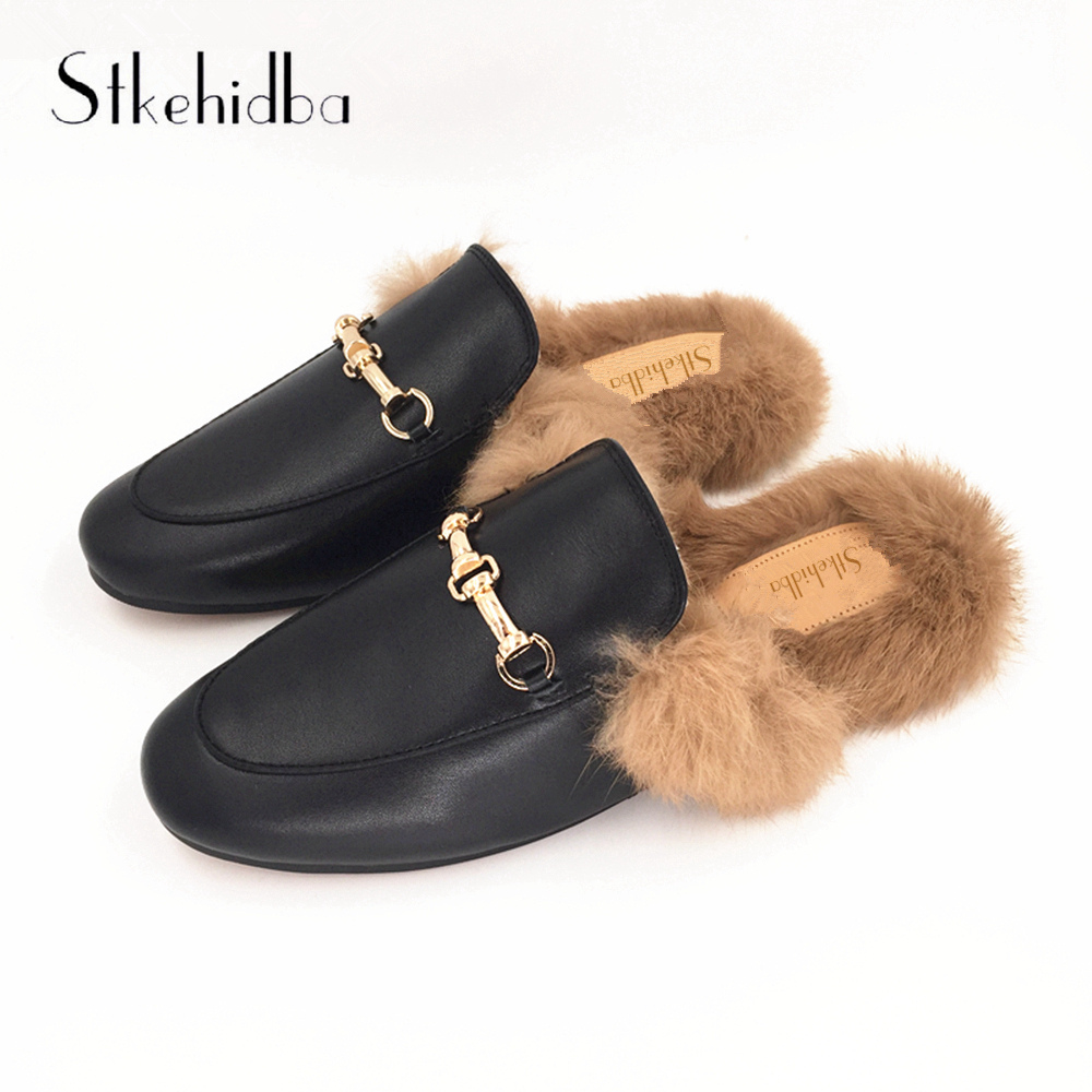 Stkehidba Rabbit Furry Women s Slippers Winter Fashion Women s Flats Genuine Leather Slippers Plus Size