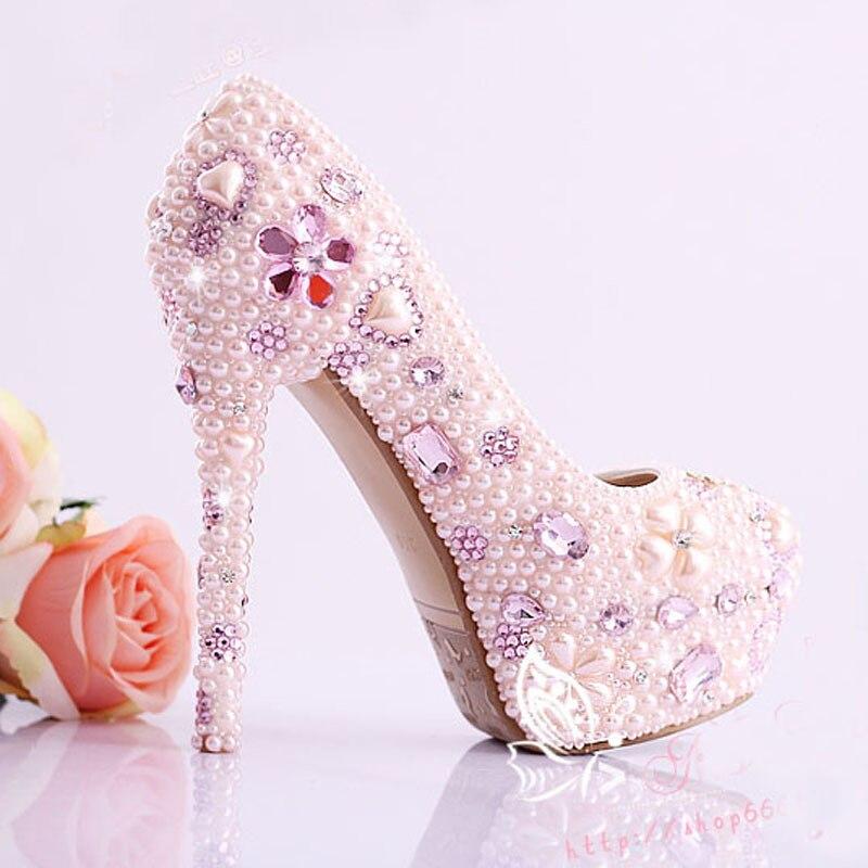De Perle Heels Rose 12cm Magnifique Haute Mariée Talon Cristal Pink 14cm Heels En Discothèque Chaussures pink Mariage Imitation Robe 0wdqf0