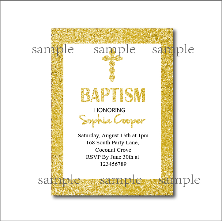 Aliexpress Com Buy 20pcs Lot Gold Glitter Baptism Invitation Baby
