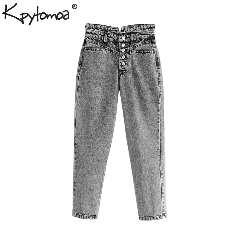 Vintage Stylish Straight Washed Effect   Jeans   Women Pants 2019 Fashion High Waist Pockets Denim Ankle Trousers Casual   Jean   Femme